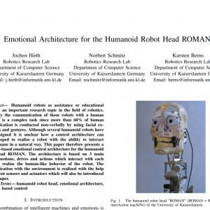 """[概要精読] """"Emotional Architecture for the Humanoid Robot Head ROMAN"""" by J. Hirth+, 2007"""